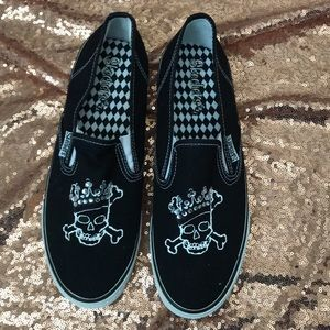 Sketchers Black Skull Slip on Sneakers Sz 9